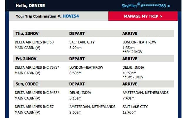 Sample Airline Itinerary